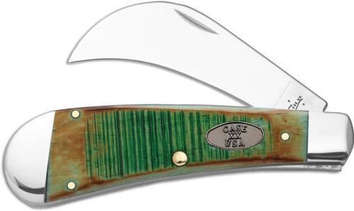 Case Hawkbill Pruner 51581 Knife Burnt Clover Bone 61011SS