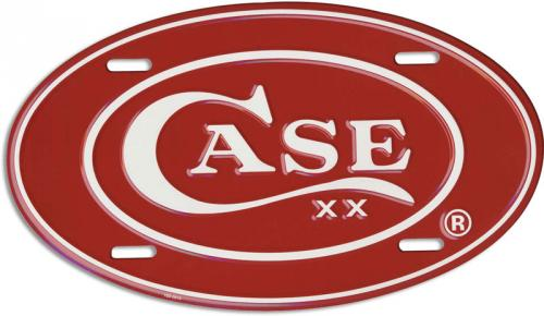 Case 52441 Red and White Oval Case License Plate