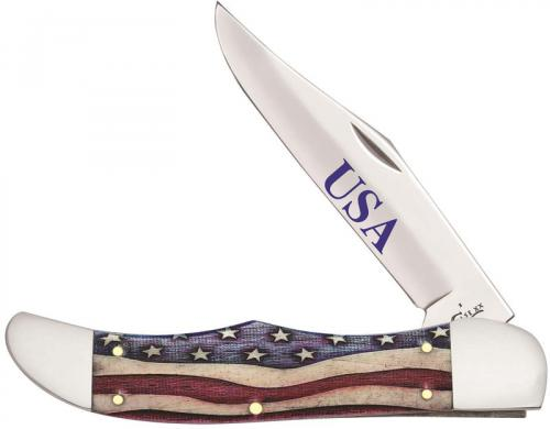 Case Folding Hunter Knife 64130 Star Spangled Smooth Natural Bone 6165SS