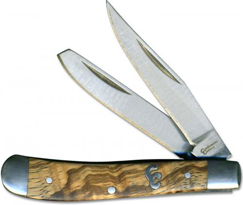 Cattlemans Cutlery Sagebrush Peanut Traditional Pocket Knife with Zebra Wood Handle CC0006ZW