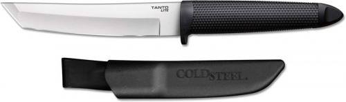 Cold Steel Tanto Lite 20TL - Value Price EDC - Stainless Steel Tanto Fixed Blade - Textured Black Handle - Polymer Belt Sheath