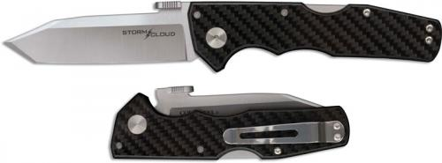 Cold Steel 21TU Storm Cloud Open on Withdrawal Tanto Folder with G10 Carbon Fiber Handle