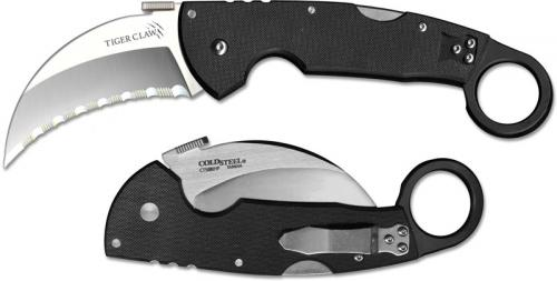Cold Steel Tiger Claw Knife, Serrated, CS-22KFS