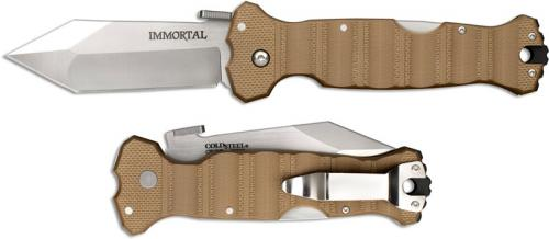 Cold Steel 23GVB Immortal Knife Mike Wallace Open on Withdrawal Coyote Tan G10 Locking Folder
