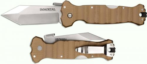 Cold Steel 23HVB Immortal S35VN Mike Wallace Open on Withdrawal Coyote Tan G10 Locking Folder