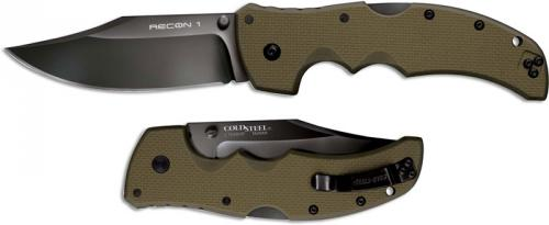 Cold Steel Recon 1 27TLCVG Knife Clip Point OD Green G10 Locking Folder