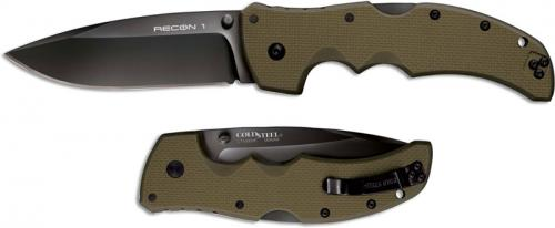 Cold Steel Recon 1 27TLSVG Knife Spear Point OD Green G10 Locking Folder