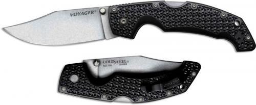 Cold Steel 29AC Large Voyager Knife AUS 10A Clip Point Black Griv-Ex Tri-Ad Locking Folder