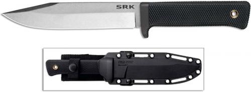 Cold Steel SRK 38CKD Knife Stonewash CPM 3V Steel Clip Point Fixed Blade with Black Kray-Ex Handle