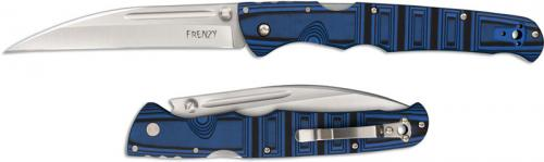 Cold Steel Frenzy II 62PV2 Knife Andrew Demko Wharncliffe Blue Black G10 Locking Folder