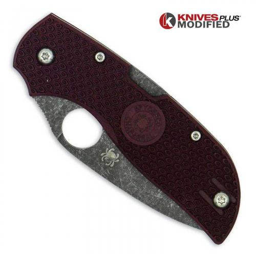 MODIFIED Spyderco Chaparral Lightweight - The Ron Burgundy - Acid Stonewash - Rit Dyed Handle