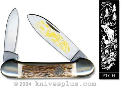Eye Brand Knives: Eye Brand Canoe Knife, Stag Handle, EB-BBDS