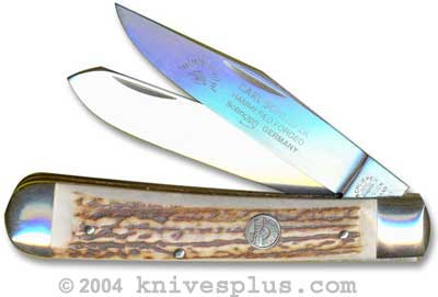 Eye Brand Knives: Eye Brand Trapper Knife, Stag Handle, EB-JDS