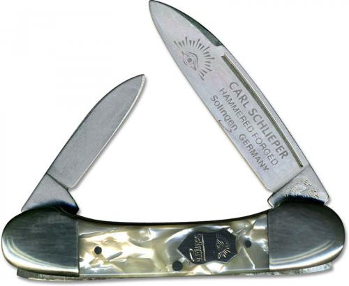 Eye Brand Baby Lima Bean Knife - Hammer Forged Solingen Carbon Steel Blades - Cracked Ice Composition Handle - German Made