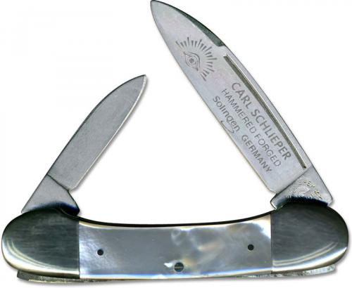 Eye Brand Baby Lima Bean Knife - Hammer Forged Solingen Carbon Steel Blades - Mother of Pearl Handle - German Made