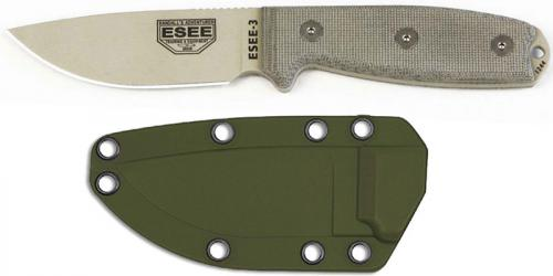 ESEE Knives ESEE-3PM-DT Desert Tan Drop Point - Micarta Handle - Modified Pommel - OD Molded Sheath