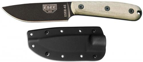 ESEE Knives ESEE-4HM-K Black Drop Point - Traditional Micarta Handle - Black Kydex Sheath