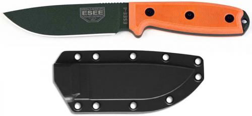 ESEE Knives ESEE-4P-OD Olive Drab Drop Point - Orange G10 Handle - Black Molded Sheath