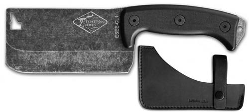 ESEE Knives ESEE-CL1 Expat Cleaver Tumbled Black Blade - Black G10 Handle - Leather Sheath