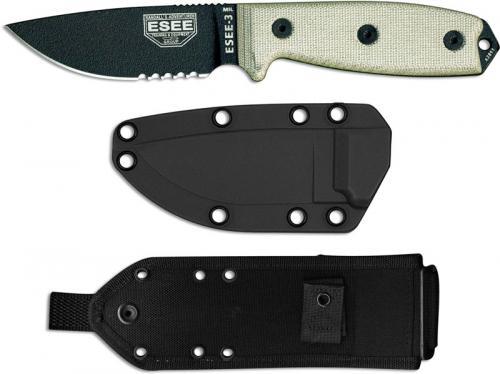 ESEE Knives ESEE-3MIL-S-B Part Serrated Black Drop Point - Micarta Handle - Glass Breaker Pommel - Black Molded MOLLE Sheath