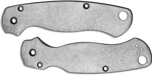 Flytanium Custom Titanium Scales for Spyderco Para Military 2 Knife - Polished Stonewash Finish