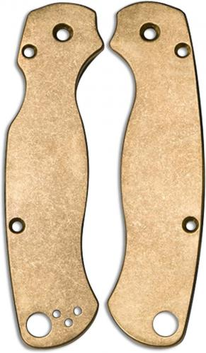 Flytanium Custom Brass Scales for Spyderco Para Military 2 Knife - Antique Stonewash Finish