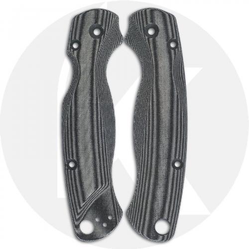 Flytanium Custom Micarta Lotus Scales for Spyderco Paramilitary 2 G10 Knife - Black Linen