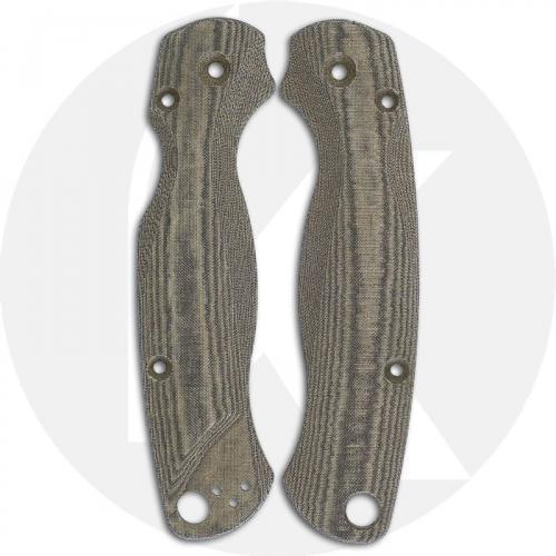 Flytanium Custom Micarta Lotus Scales for Spyderco Paramilitary 2 G10 Knife - Green Linen