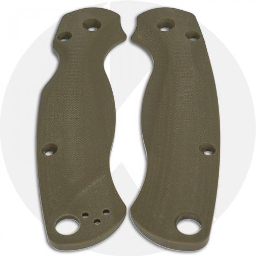 Flytanium Custom G10 Lotus Scales for Spyderco Paramilitary 2 G10 Knife - OD Green