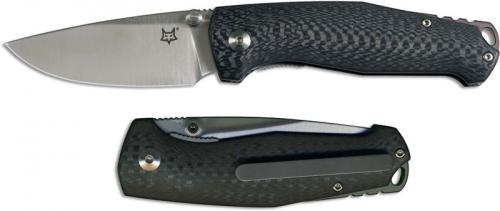 Fox Knives TUR FX-528 Jesper Voxnaes EDC Satin Drop Point Black Carbon Fiber Folding Knife