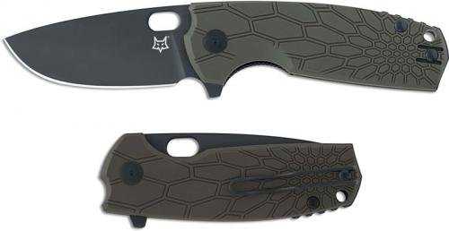 Fox Knives Vox Core FX-604 OD Jesper Voxnaes EDC Black Drop Point OD FRN Flipper Folding Knife
