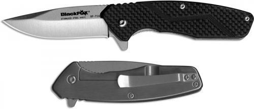 BlackFox Carbonix BF-716 EDC Drop Point Black Carbon Fiber Flipper Folding Knife