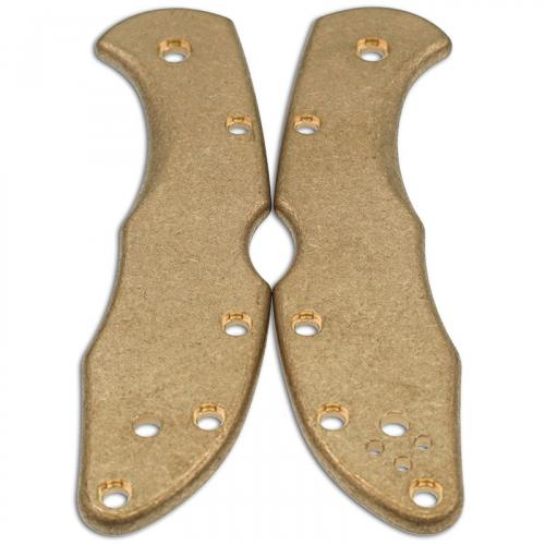 Flytanium Custom Brass Scales for Spyderco Delica Knife - Stonewash Finish
