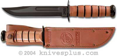 KABAR Knife, USMC Plain Edge with Leather Sheath, KA-1217