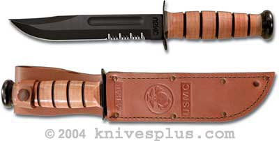 KABAR Knife, USMC Part Serrated with Leather Sheath, KA-1218