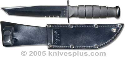 KA-BAR Knives: KABAR Short Black Tanto Knife, Part Serrated Leather Sheath, KA-1255