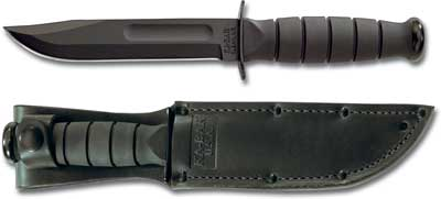 KA-BAR Short Black KABAR Utility, Plain Edge, Leather KA-1256,