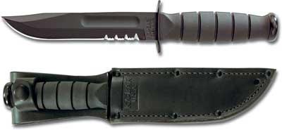 KA-1257, KA-BAR Short Black Utility, Part Serrated Edge, Leather