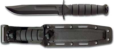 KA-1258, KA-BAR Short Black Utility, Plain Edge, Synthetic Sheath