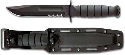 KA-1259, KA-BAR Short Black Utility, Part Serrated Edge, Synthetic Sheath