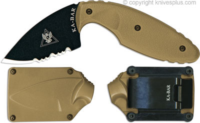 KA-BAR Knives: KABAR TDI Knife, Part Serrated Coyote Brown, KA-1477CB