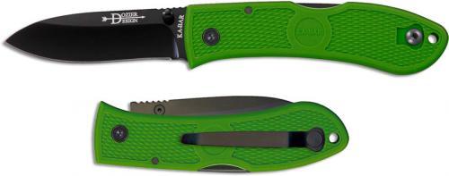 KABAR Dozier Folding Hunter 4062KG - Bob Dozier EDC - Black Drop Point - Kelly Green Zytel - Lockback Folder