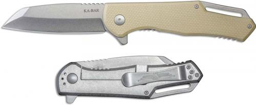 KABAR Jarosz Flipper Knife 7508 EDC Wharncliffe Desert G10 and Titanium Frame Lock Folder