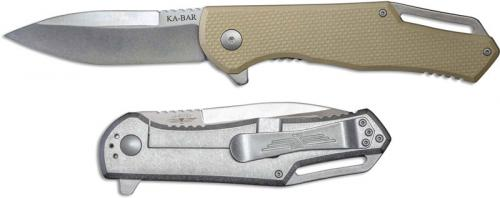 KABAR Jarosz Flipper Knife 7509 EDC Spear Point Desert G10 and Titanium Frame Lock Folder