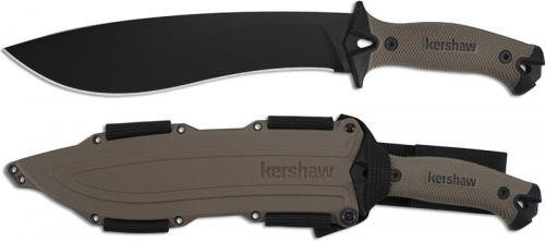 Kershaw 1077TAN Camp 10 Black Carbon Steel Camp Knife with Tan Rubber Handle