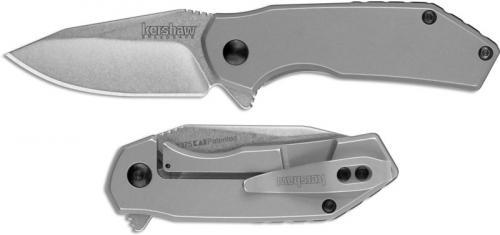 Kershaw Valve 1375 - SpeedSafe Assist - Value Priced EDC - Stonewash Clip Point - Bead Blast Stainless Steel - Flipper Folder