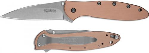 Kershaw Leek Copper 1660CU - Stonewash CPM 154 Drop Point - Copper Handle - SpeedSafe Assist - Flipper Folder - USA Made