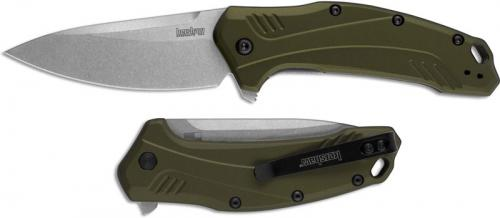 Kershaw Link 1776OLSW - Stonewash Blade - Olive Aluminum - SpeedSafe Assist - Flipper Folder - USA Made