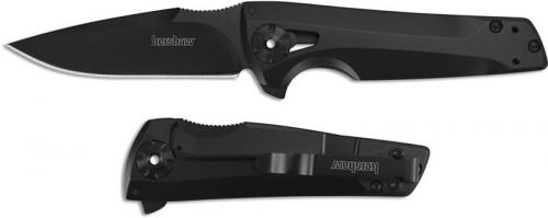 Kershaw 1988 Flythrough RJ Martin Black Oxide Drop Point Black Steel Handle KVT Flipper Folder