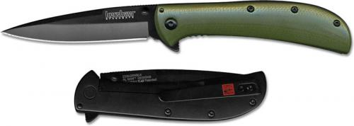 Kershaw AM-3 2335GRNBLK Limited Flipper Folder Assisted Black Blade Green G10 and SS